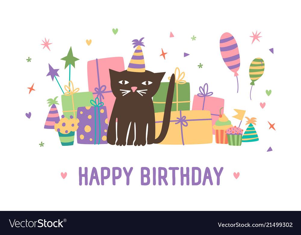 Happy birthday inscription and adorable cartoon
