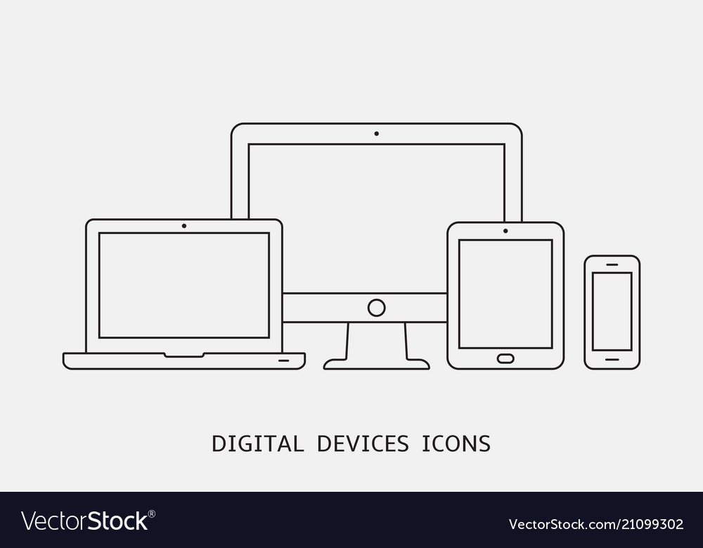 Set of outline device icons monitor