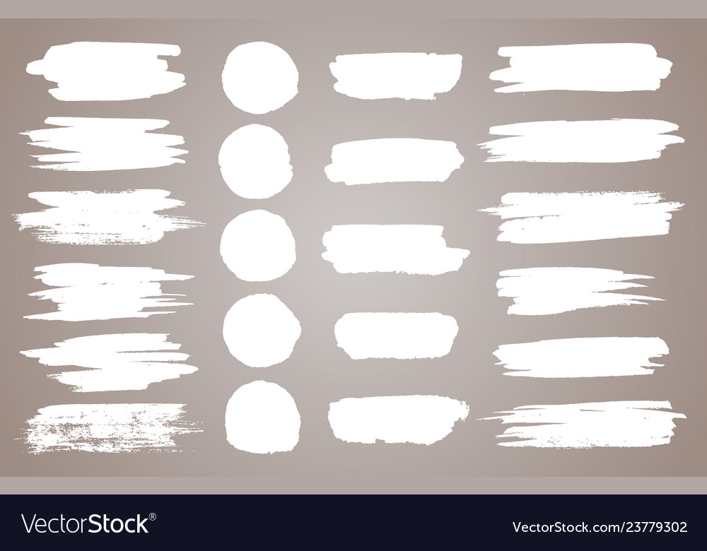 Set of white ink stains black paint
