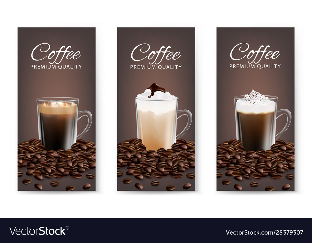 Coffee advertising flyer set realistic