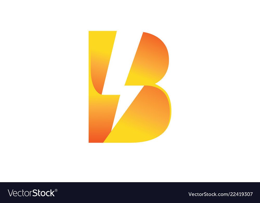 Creative bolt lightning flash letter b symbol logo