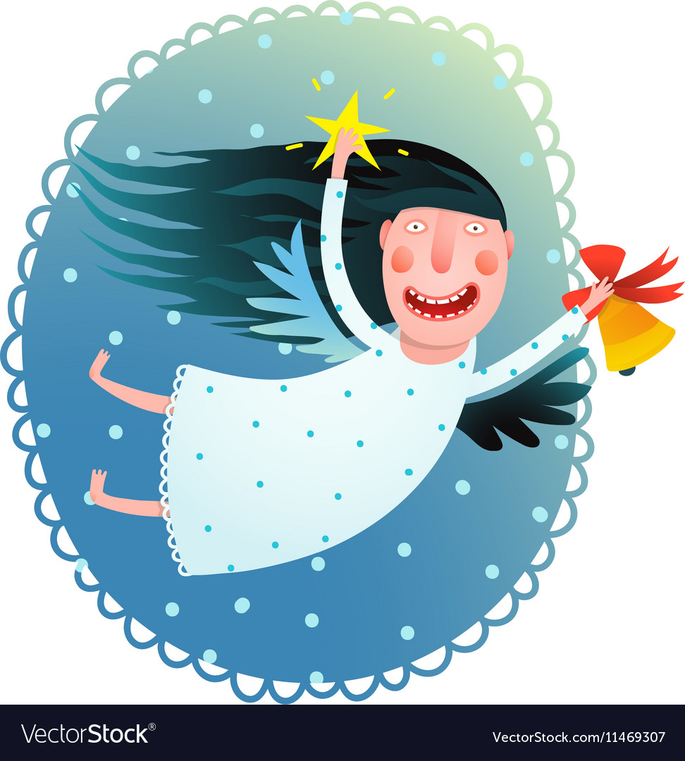 Cute angel girl holding star and bell flying at