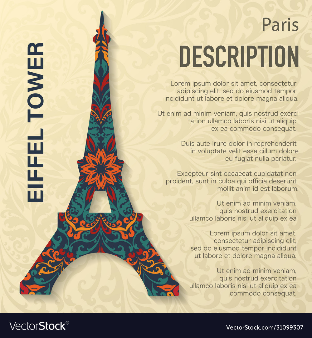 Eiffel tower floral pattern background