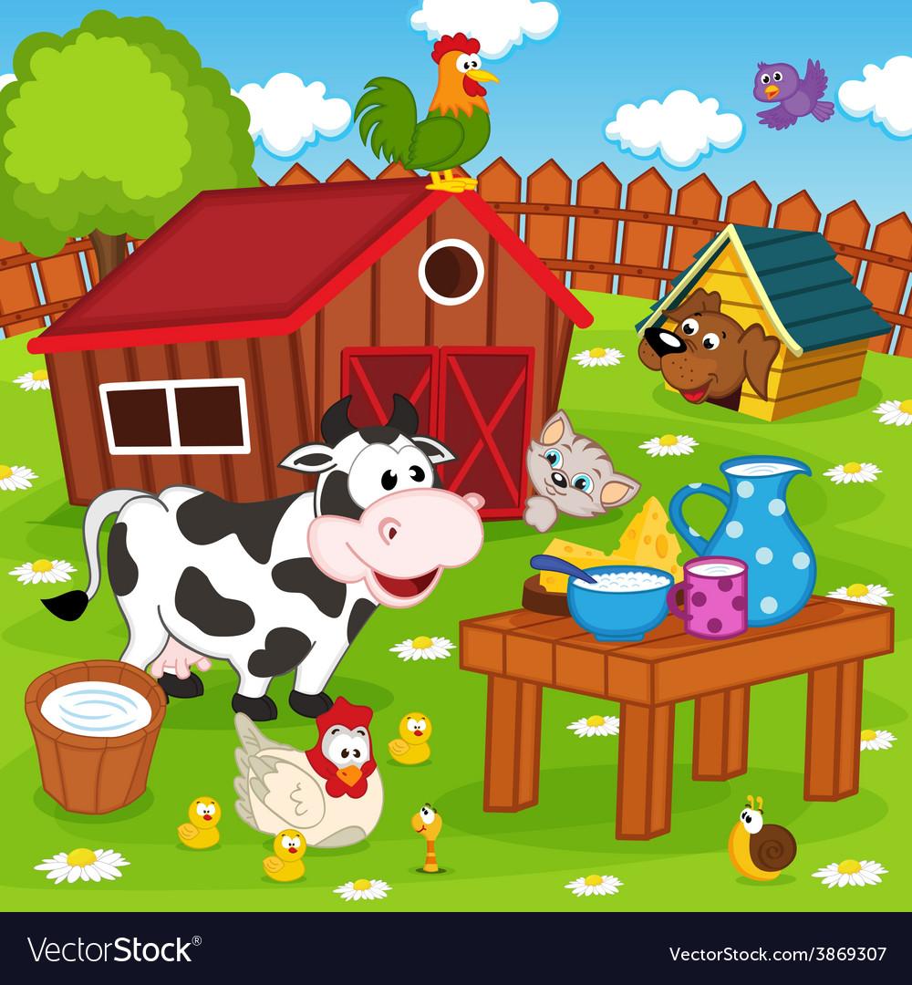 Farm animals in barnyard