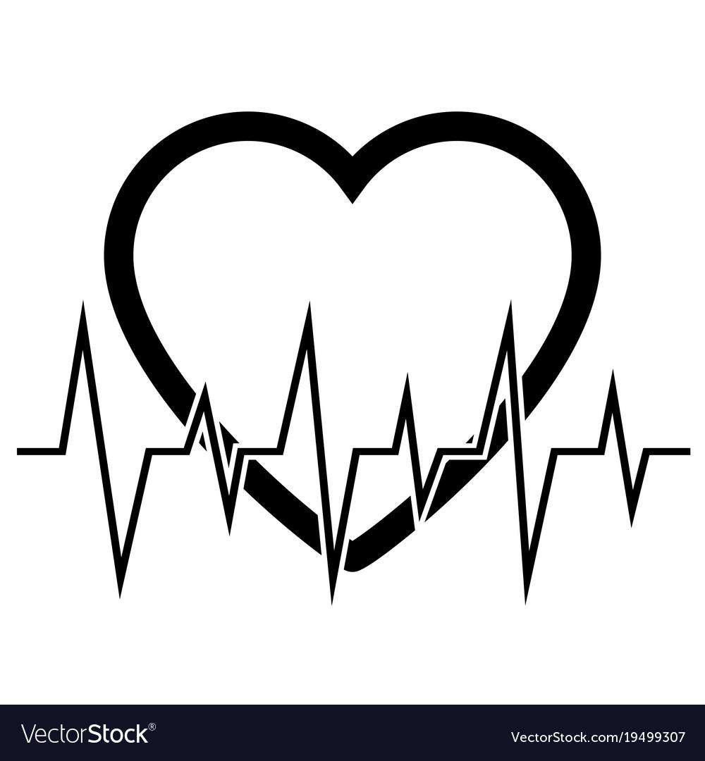 Heart cardiogram icon vector image