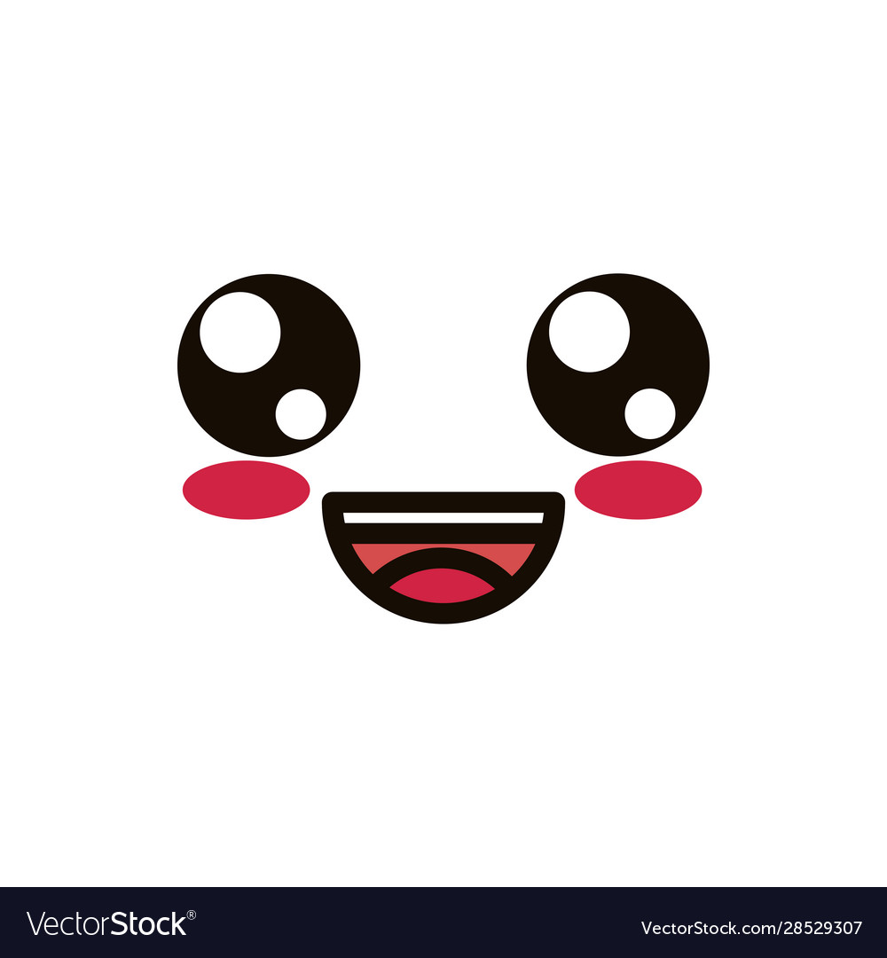 Kawaii Cute Face Expression Eyes And Mouth Laugh Vector Image