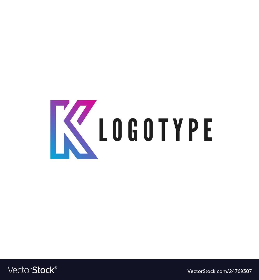 Letter k logotype blue and purple gradient stroke