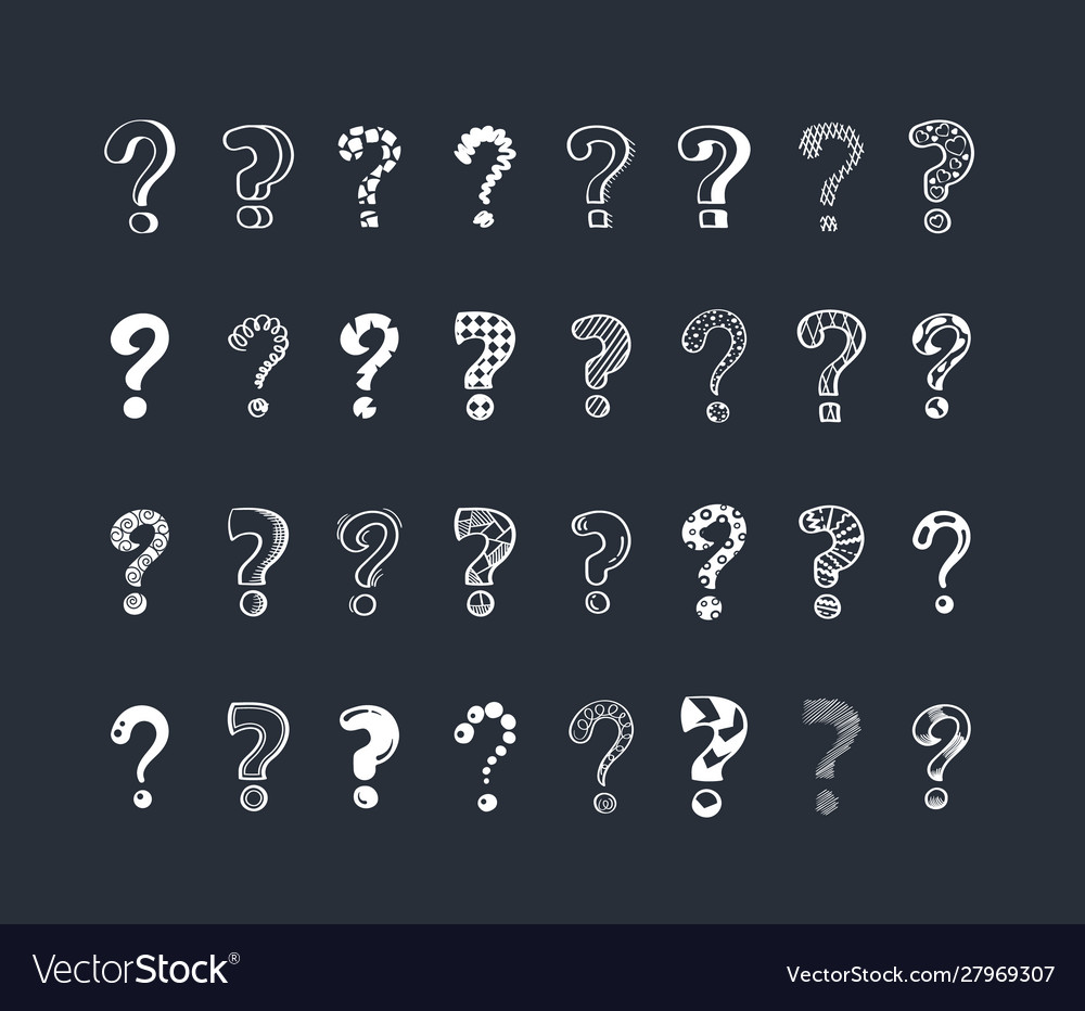 Question marks cartoon white vector