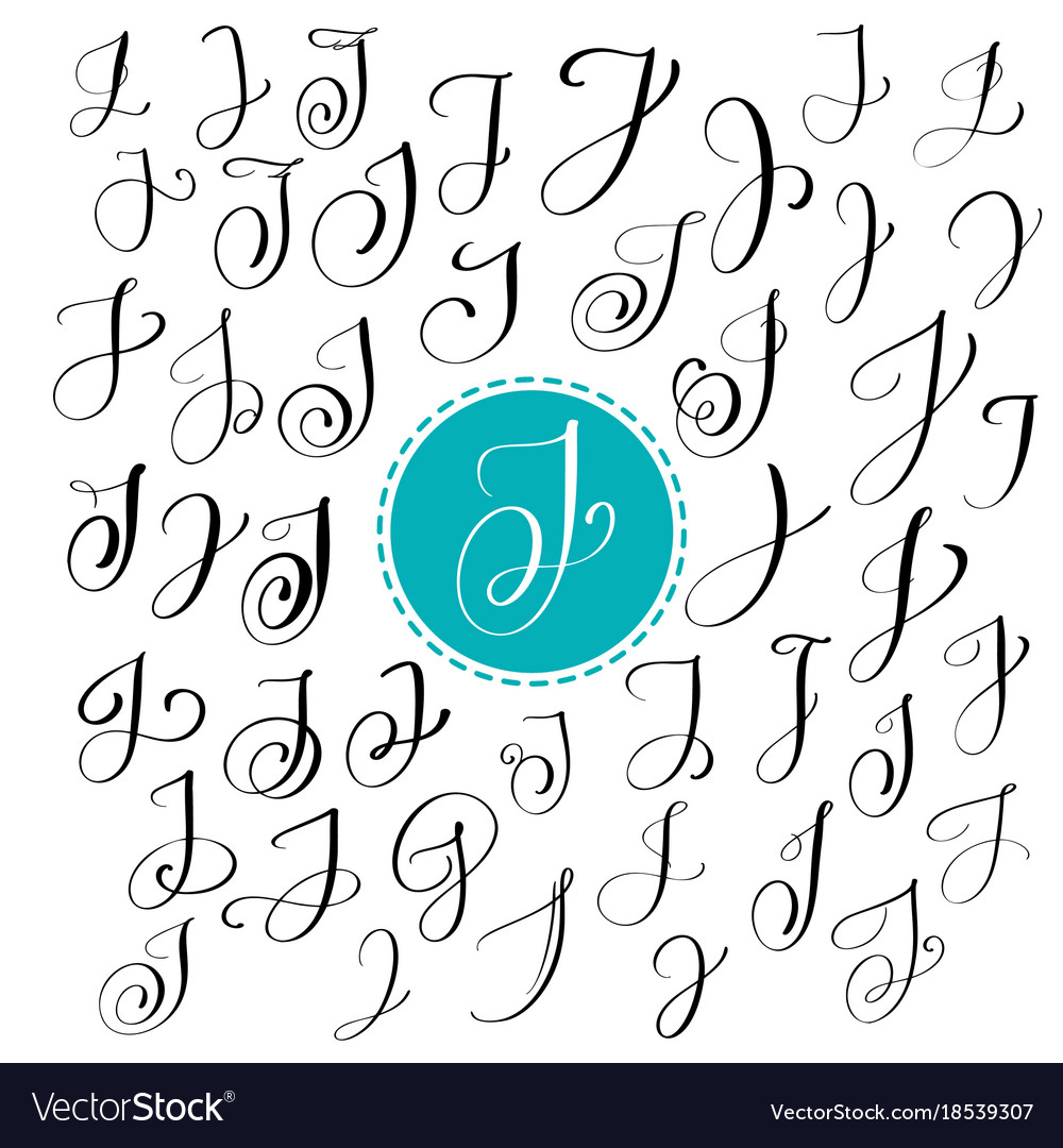 Set of hand drawn calligraphy letter j Royalty Free Vector