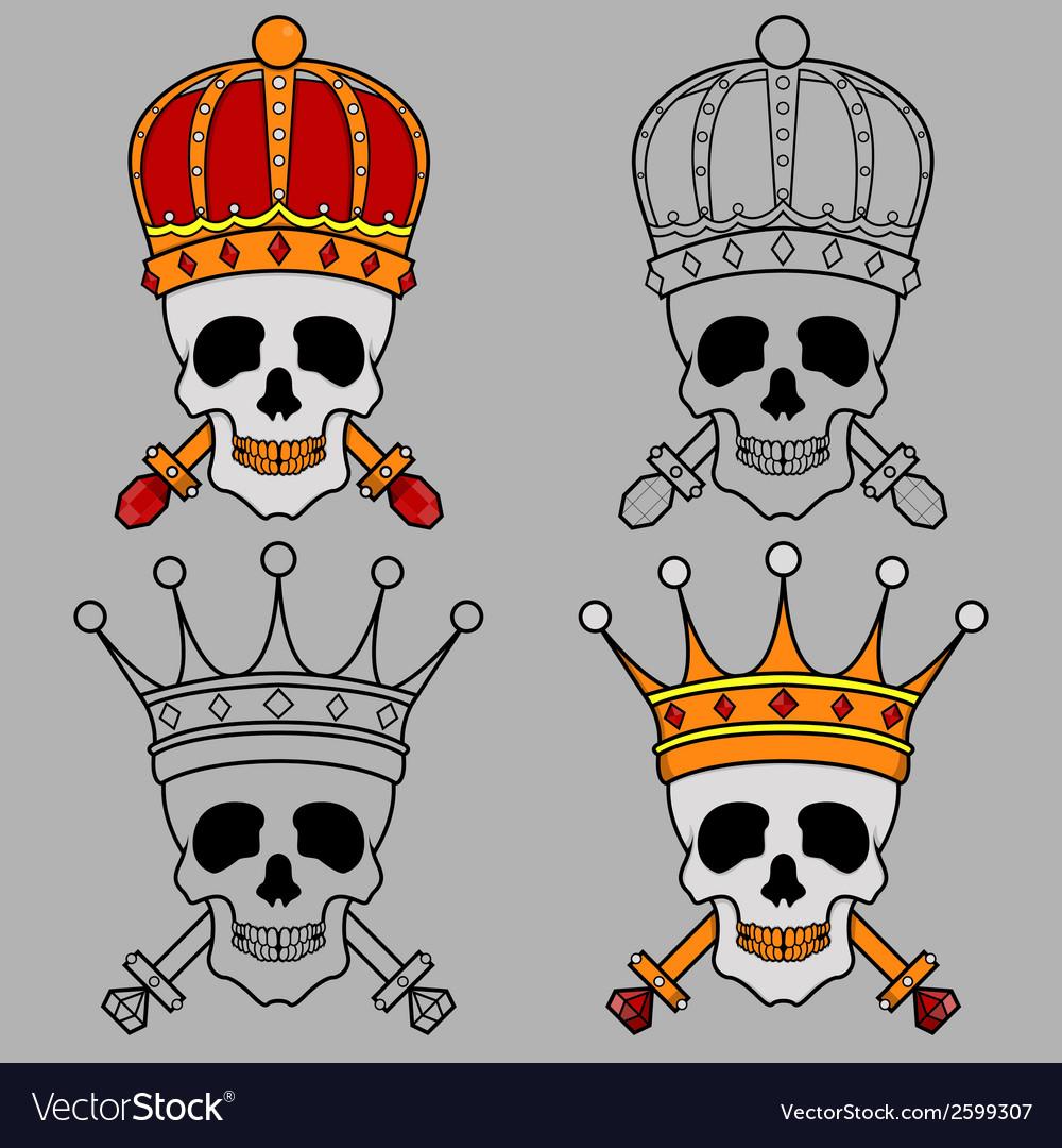 Skull Mascot King Crown