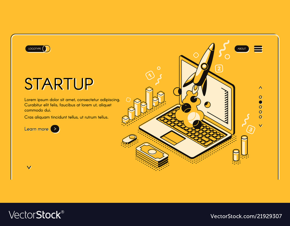 Startup business isometric line