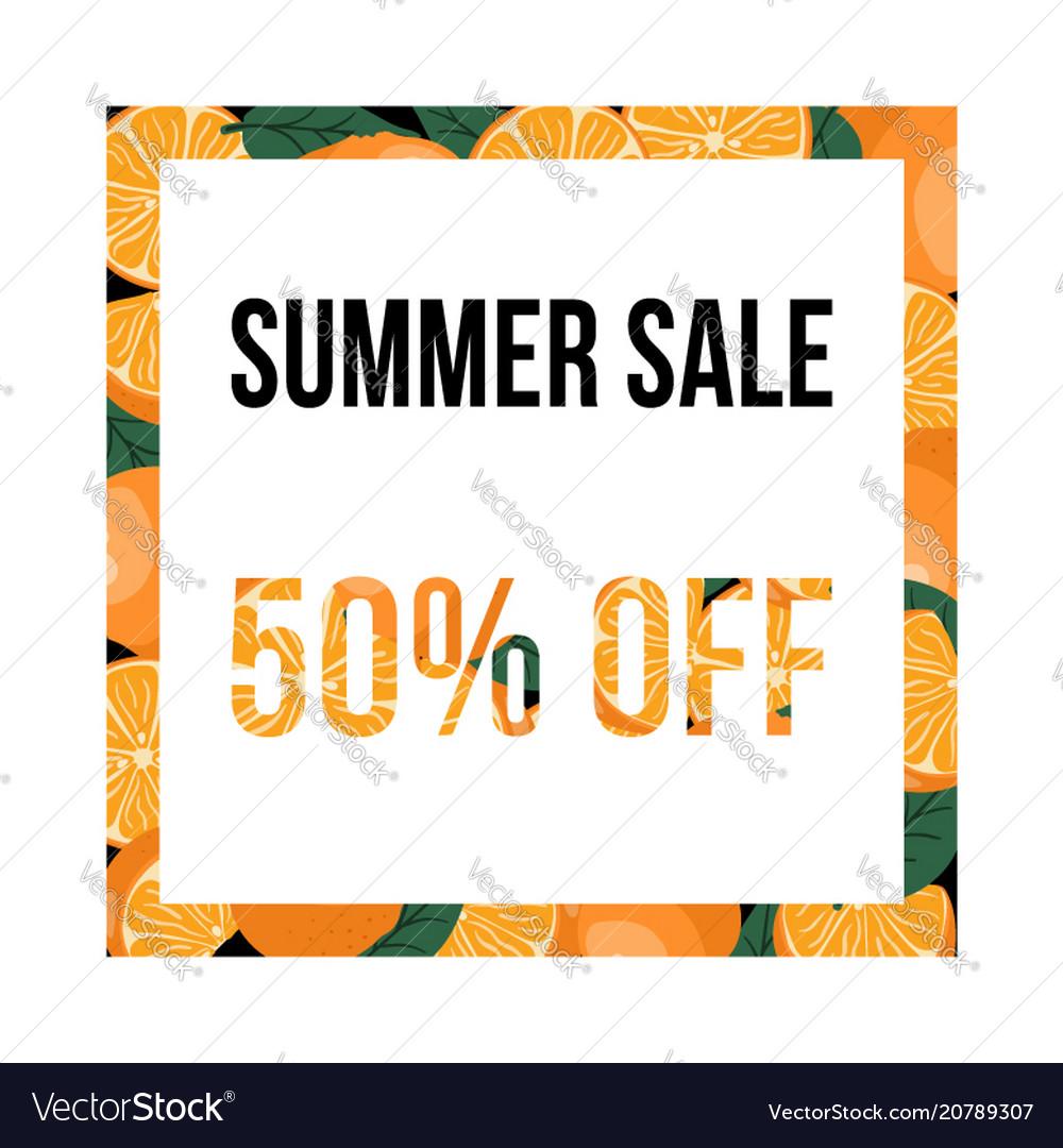 Summer sale banner with oranges design template