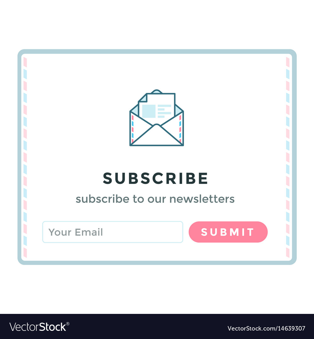 Template Email Subscribe Form Royalty Free Vector Image