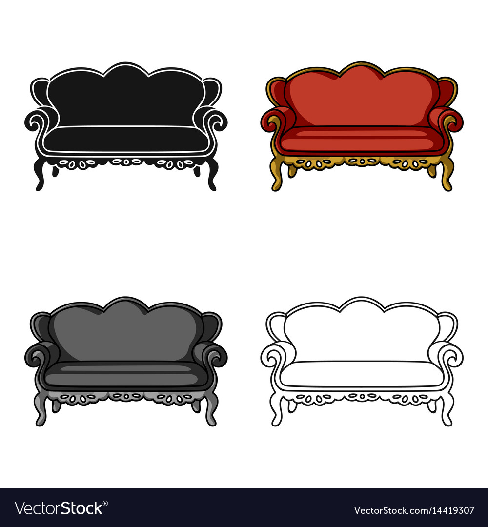 Vintage Sofa Icon In Cartoon Style Isolated On Vector Image