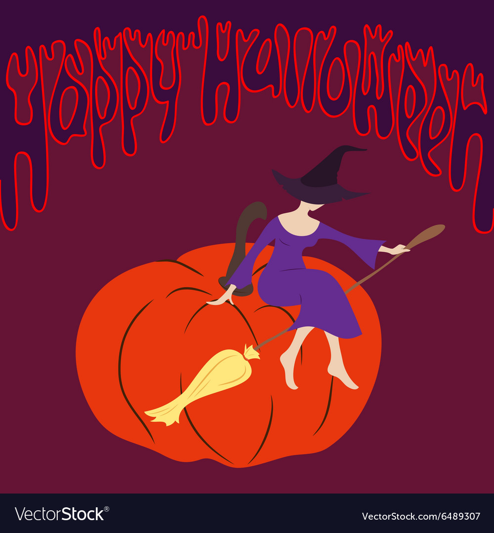 Young witch sitting on the pumpkin
