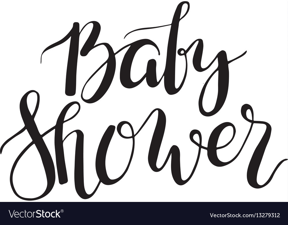 Baby shower text custom lettering invitation for