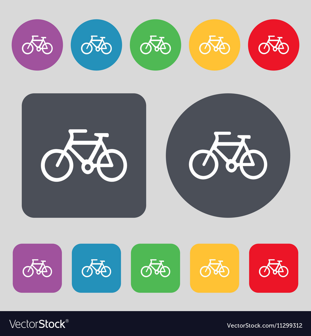 Bicycle icon sign A set of 12 colored buttons Flat