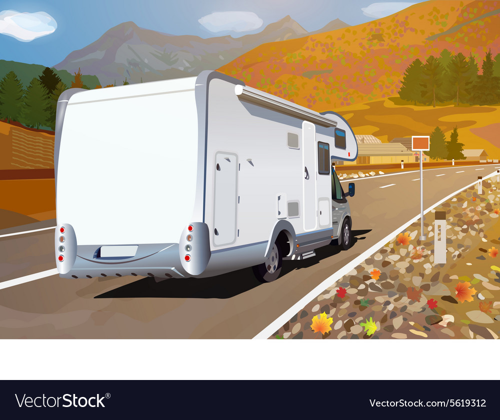 Camper traveling on mountains road