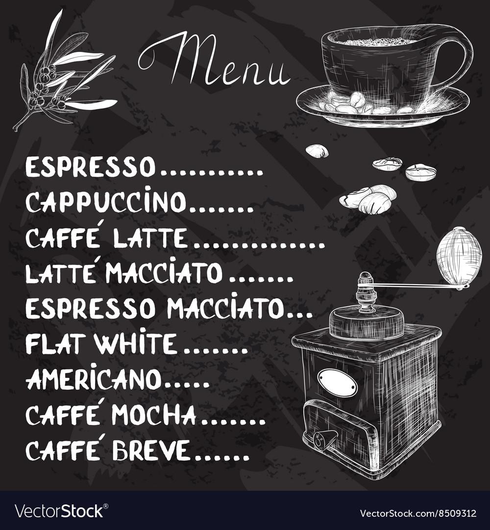 chalkboard coffee menu design royalty free vector image