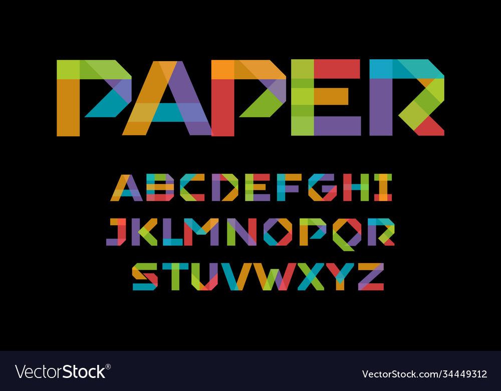 Color paper applique alphabet colorful origami