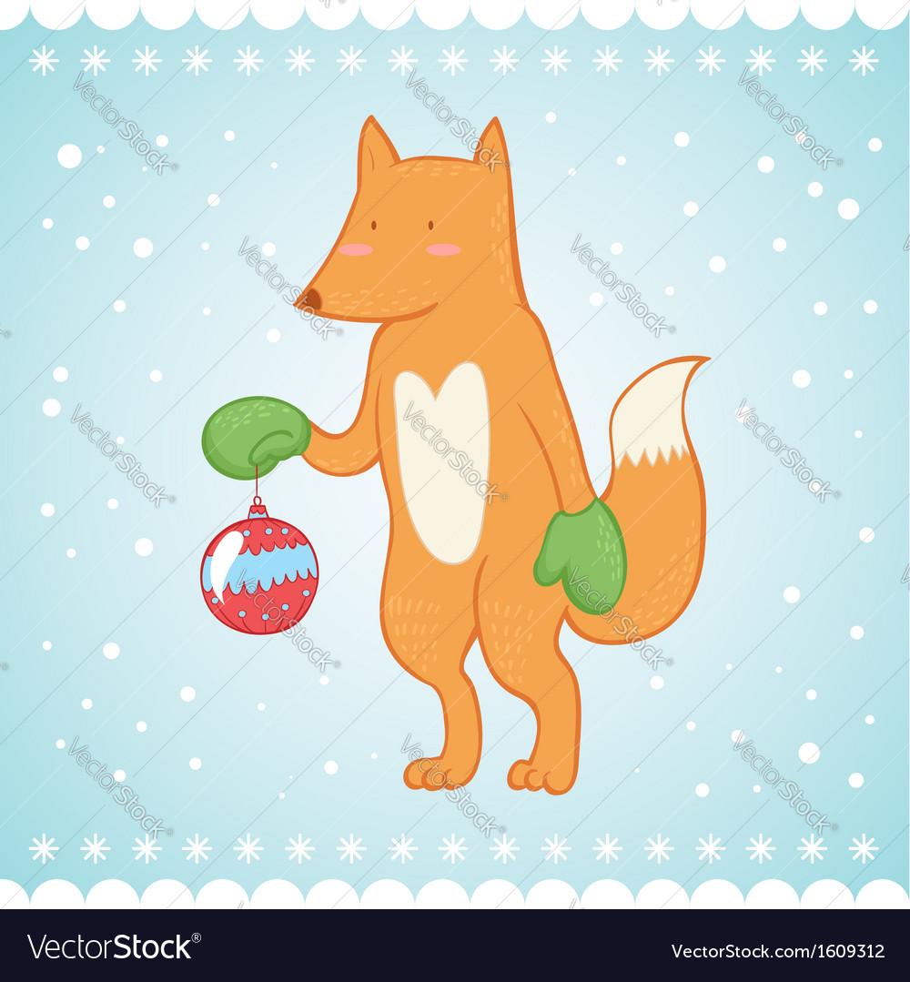 Cute fox Christmas greeting card