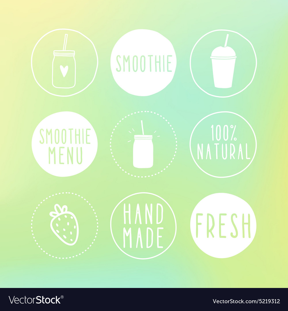 Hand drawn smoothie labels and blur background