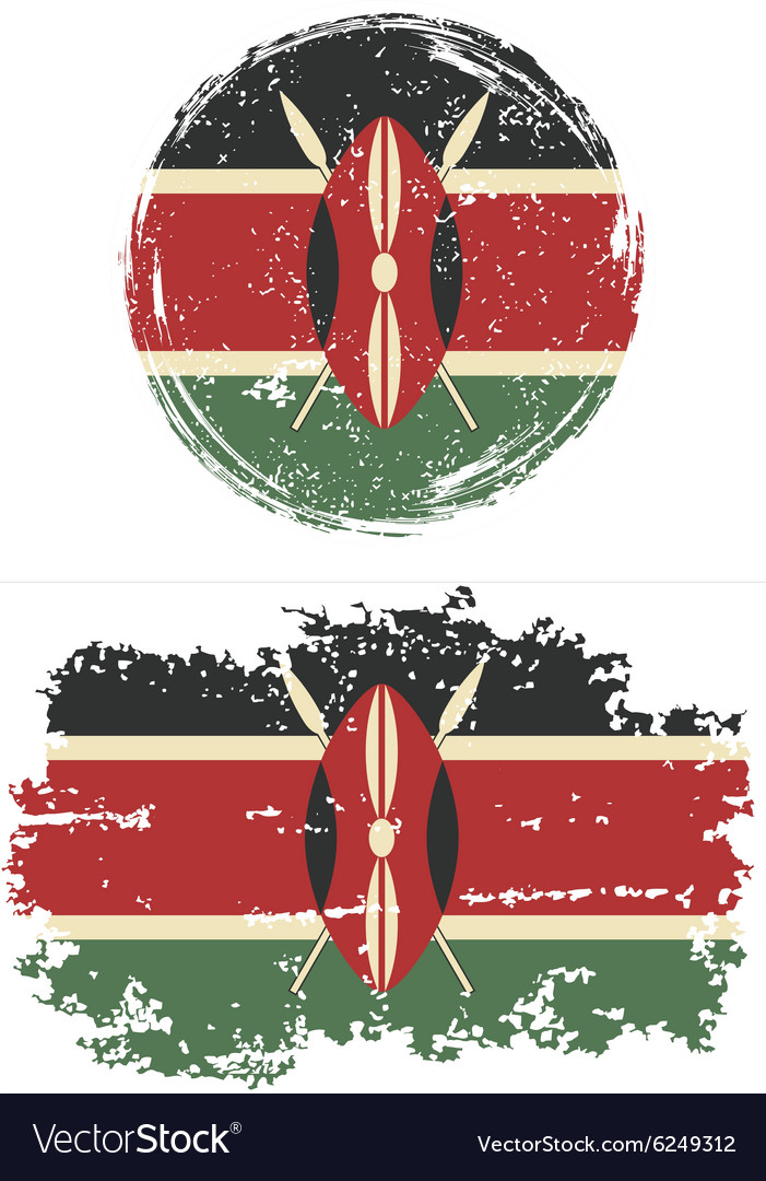 Kenyan round and square grunge flags