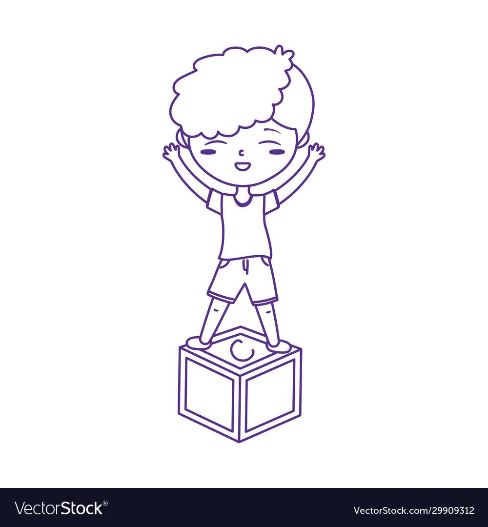 Kids zone boy playing on block icon design