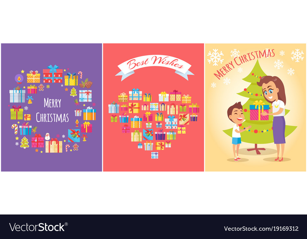 merry christmas mom and son vector image