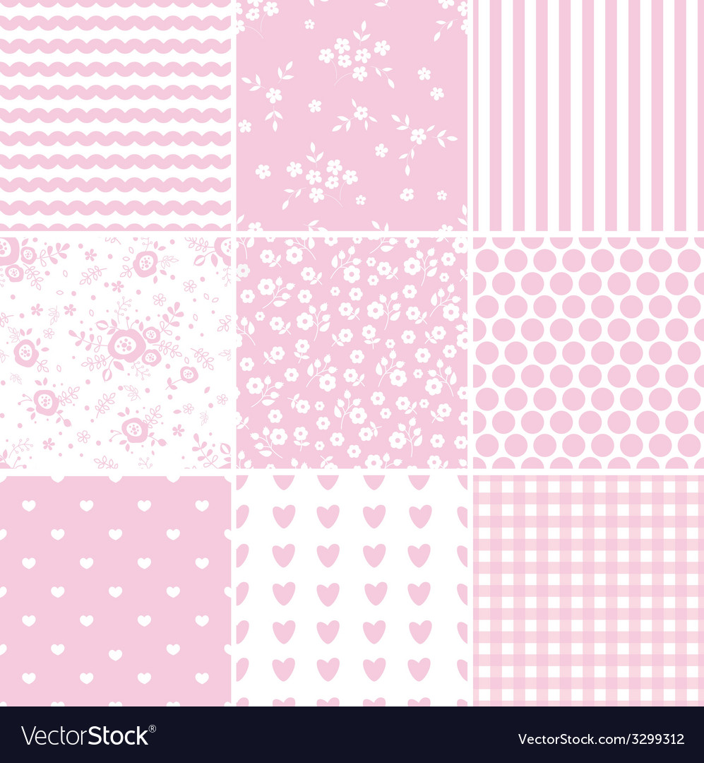 Set of abstract pink seamless patterns vector image