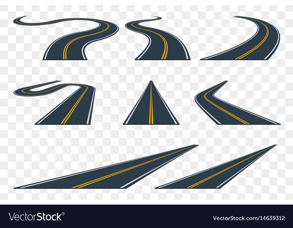 Set of curved asphalt road in perspective highway
