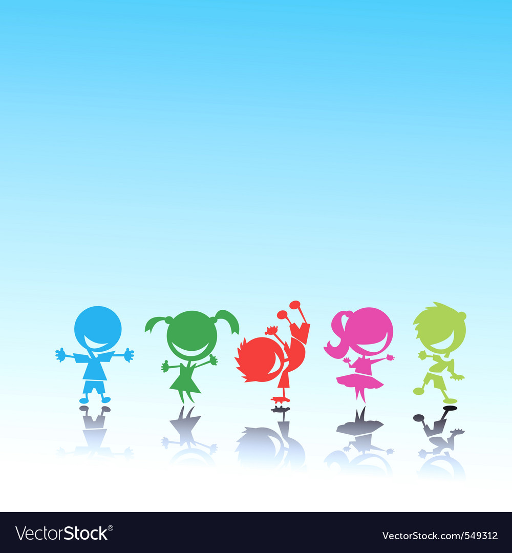 Stylized colorful kids vector image