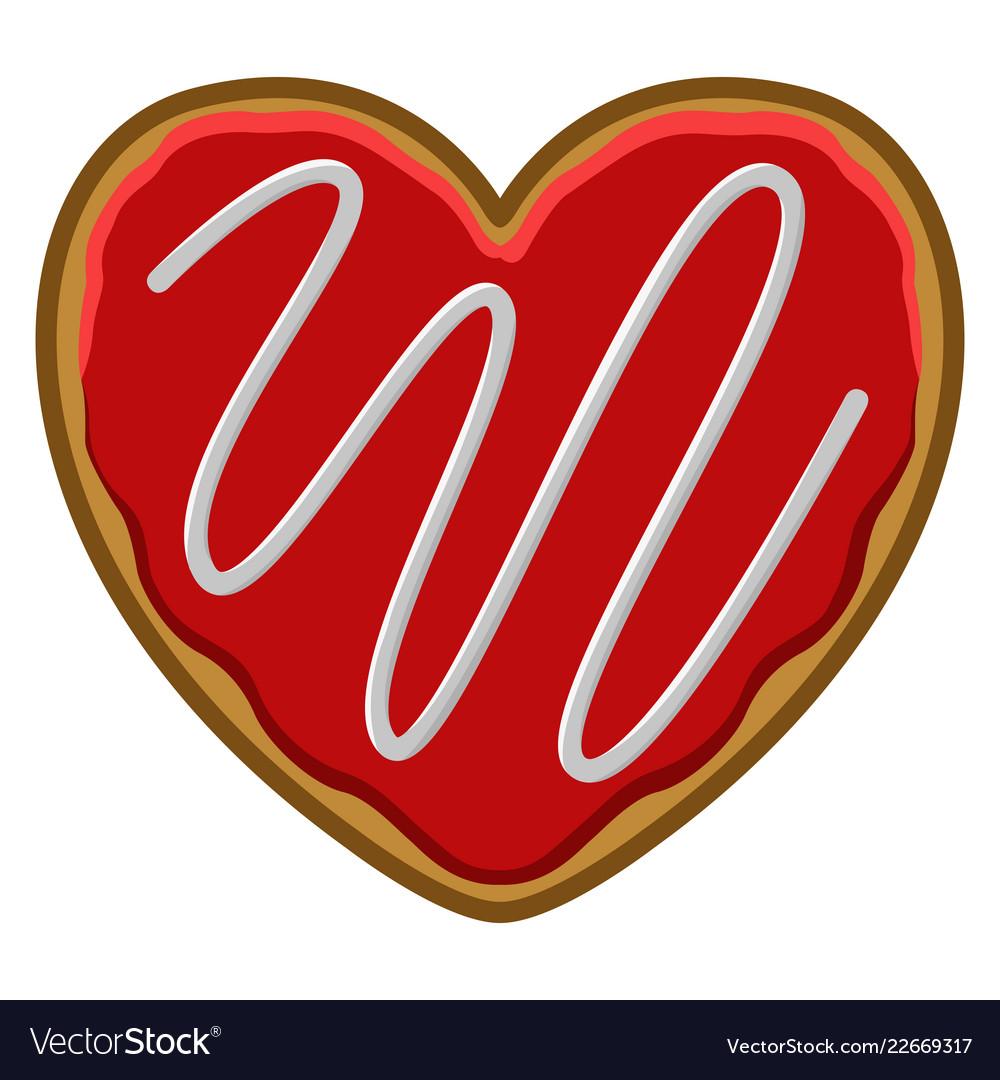 Christmas Heart Vector.Christmas Heart Shape Gingerbread Cookie