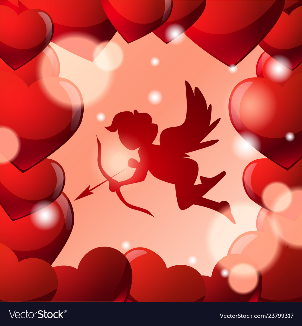 Cute cupid silhouette in frame red heart shapes