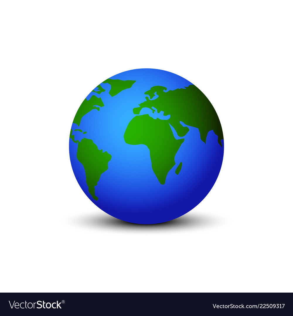 Earth globe with shadow on blank background
