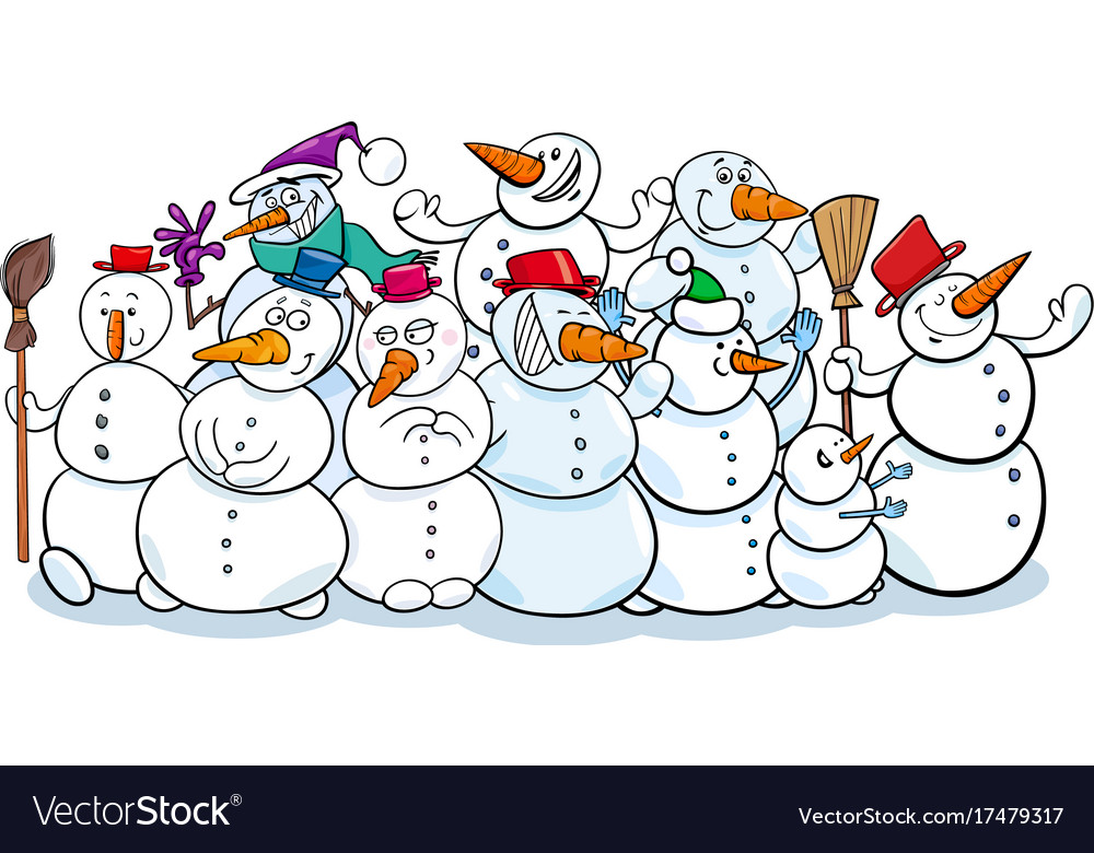 Happy snowmen group cartoon Royalty Free Vector Image