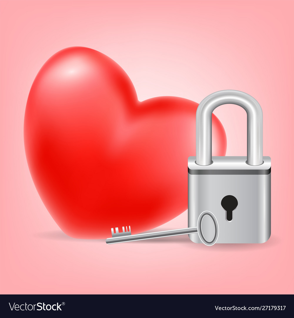Heart with a key and lock on pink background