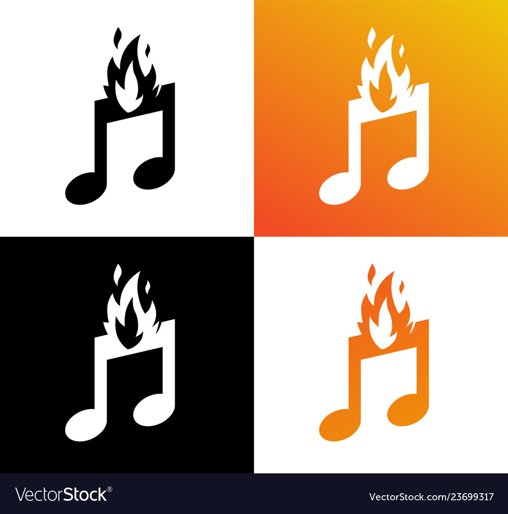 Icon of musical burning note fire and symbol of