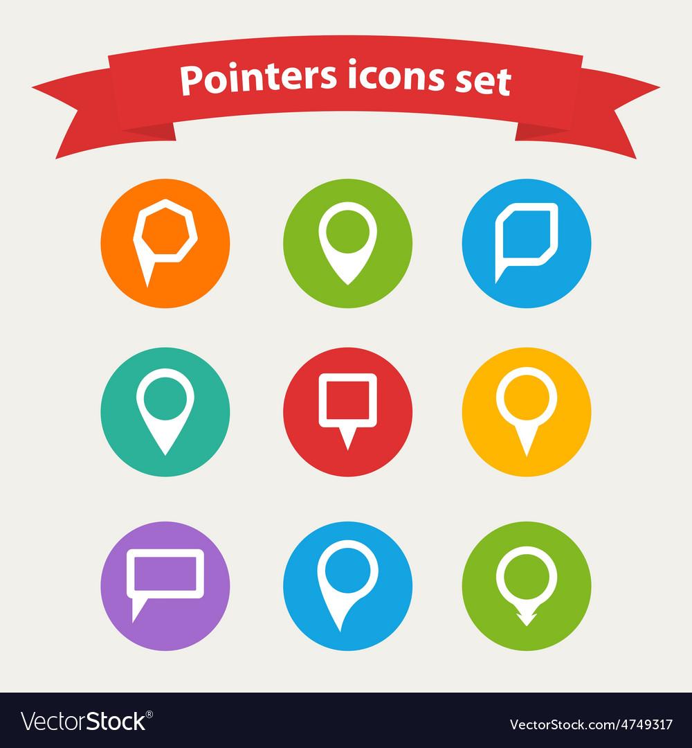 Pointer white icons set various forms