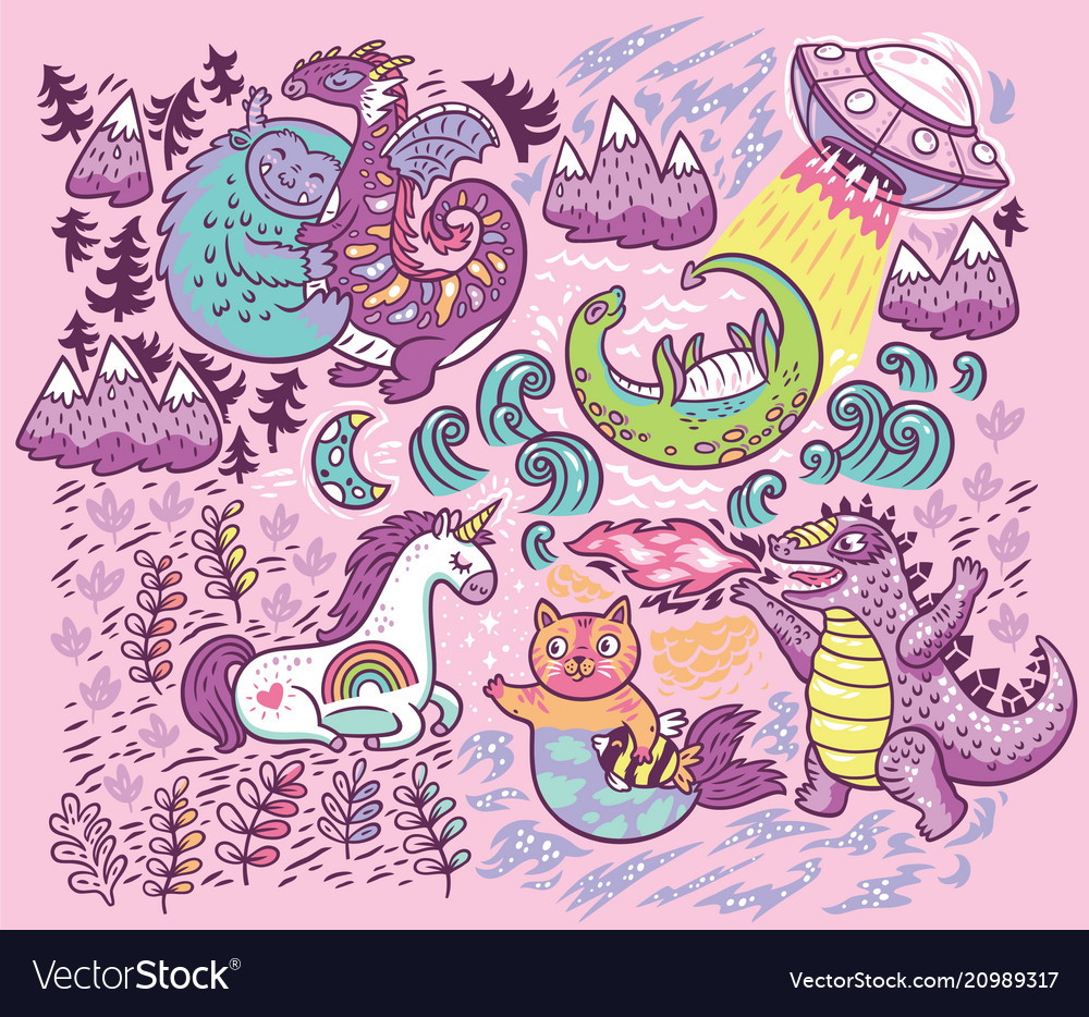 Print with fantastic creatures isolated