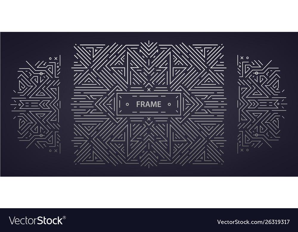 Set abstract art deco frames linear