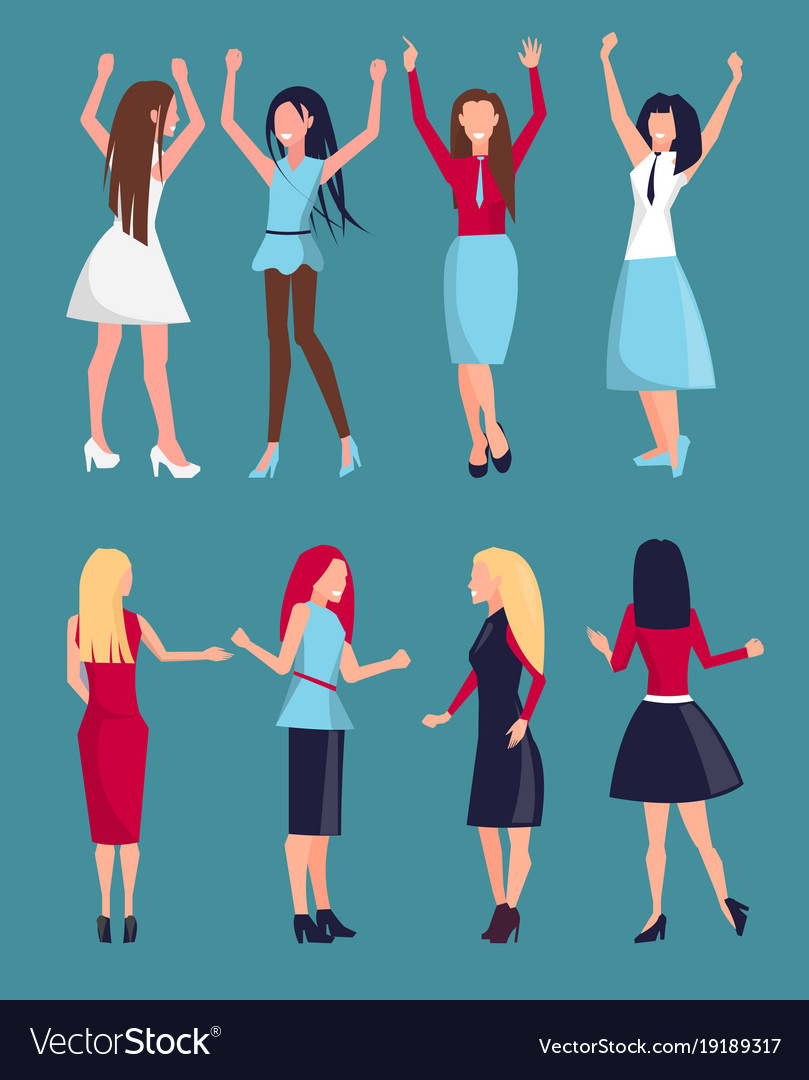 Set of different women icons