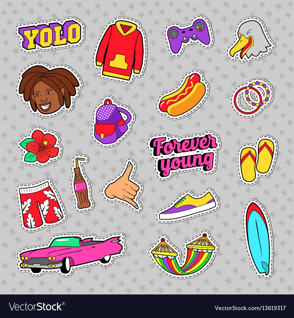 Teens fashion set with pink car fast food