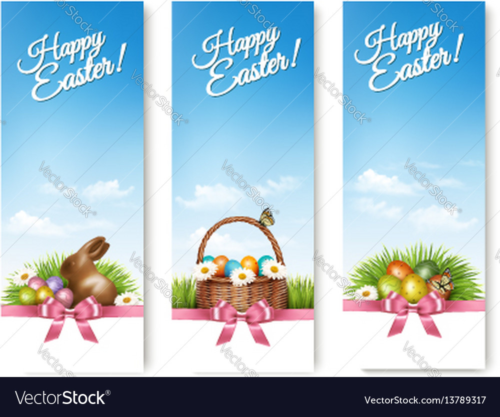 Three banners with easter backgrounds eggs in