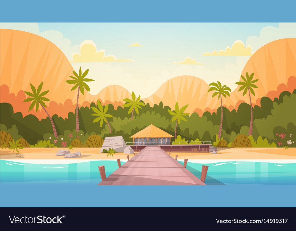 Tropical beach with water bungalow house landscape