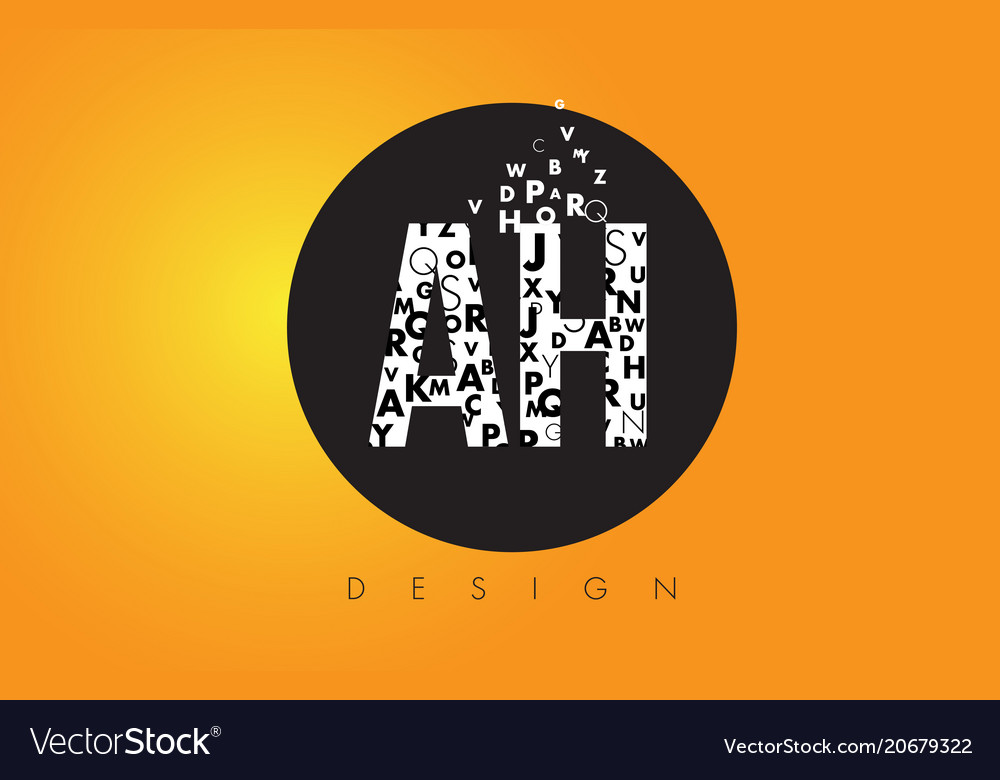 Ah a h logo made of small letters with black