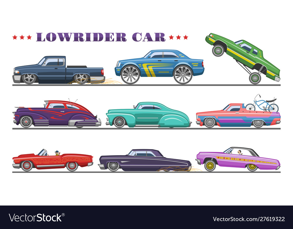 Car vintage low rider auto and retro old