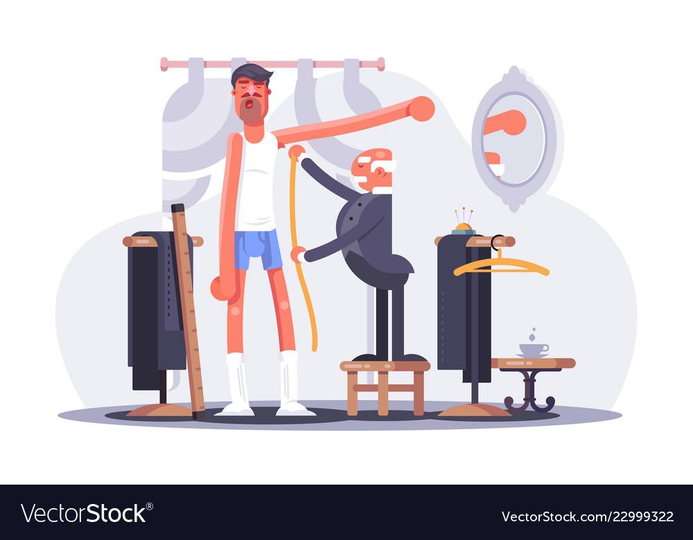 Cartoon tailor taking measures flat poster