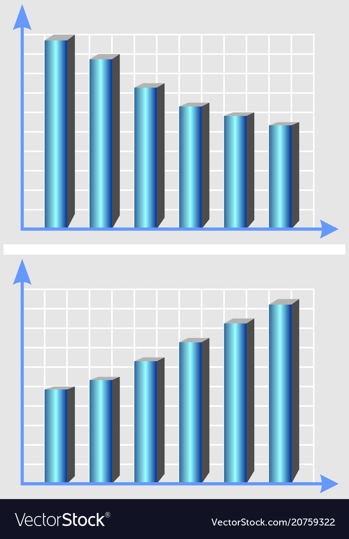 Chart template with metallic blue 3d vector image
