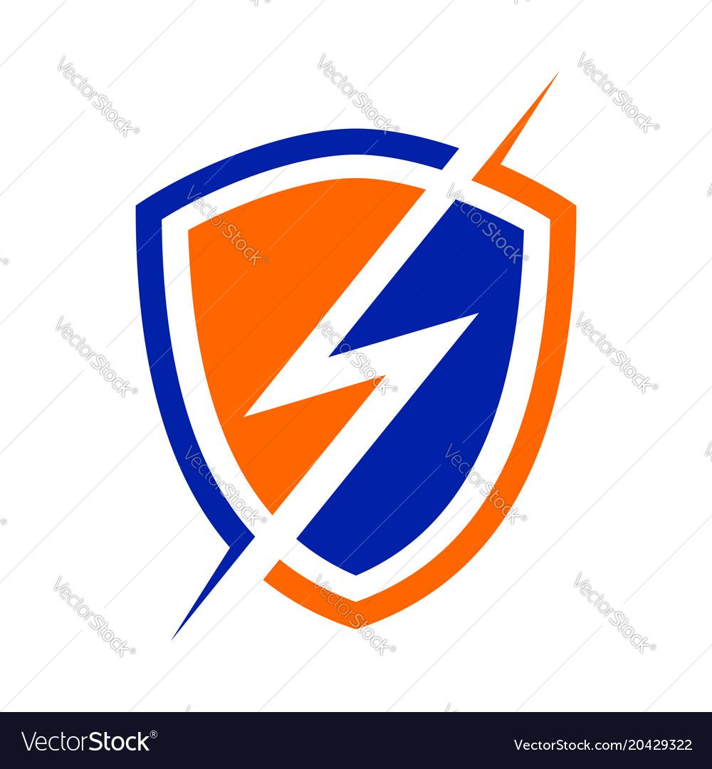 Electric Power Shield Modern Shield Symbol Logo Vector Image